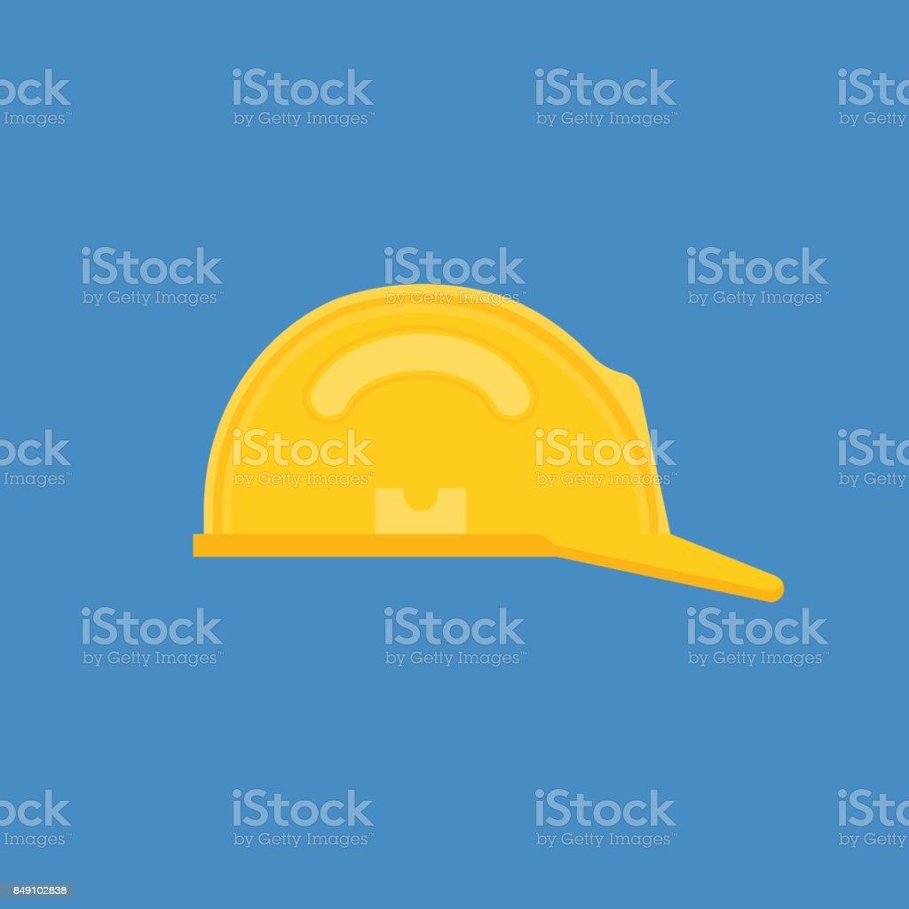 Safety equipment protective helmet in flat design icon vector art illustration