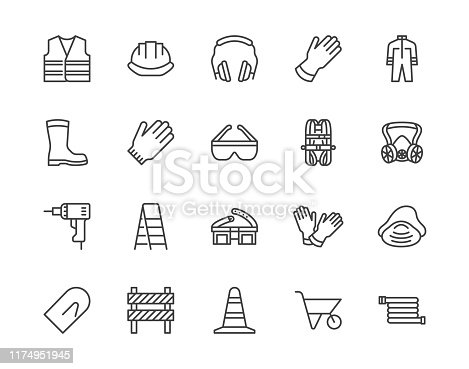 Safety equipment, required PPE flat line icons set. Protective gloves builder helmet respirator, harness vector illustrations. Outline signs personal protection. Pixel perfect 64x64. Editable Strokes.
