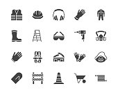 Safety equipment, required PPE flat silhouette icons set. Protective gloves builder helmet respirator, harness vector illustrations. Glyph signs personal protection. Pixel perfect pictograms