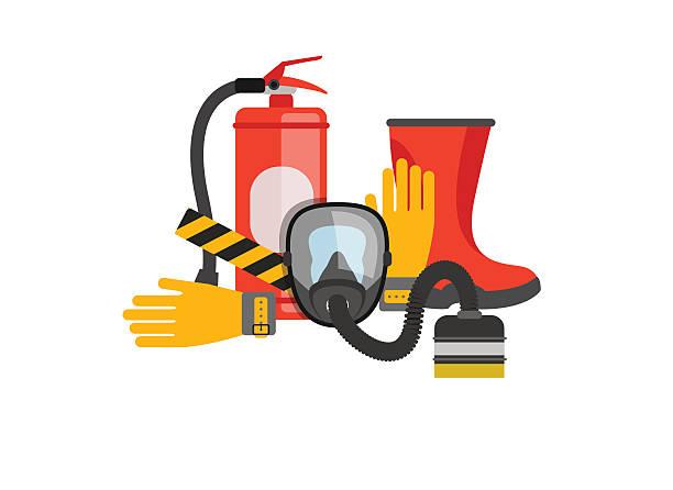 ilustraciones, imágenes clip art, dibujos animados e iconos de stock de equipo vector de conjunto de seguridad. protección contra fuego y fuego. - equipo de seguridad