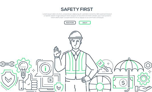 Safety first - modern line design style banner