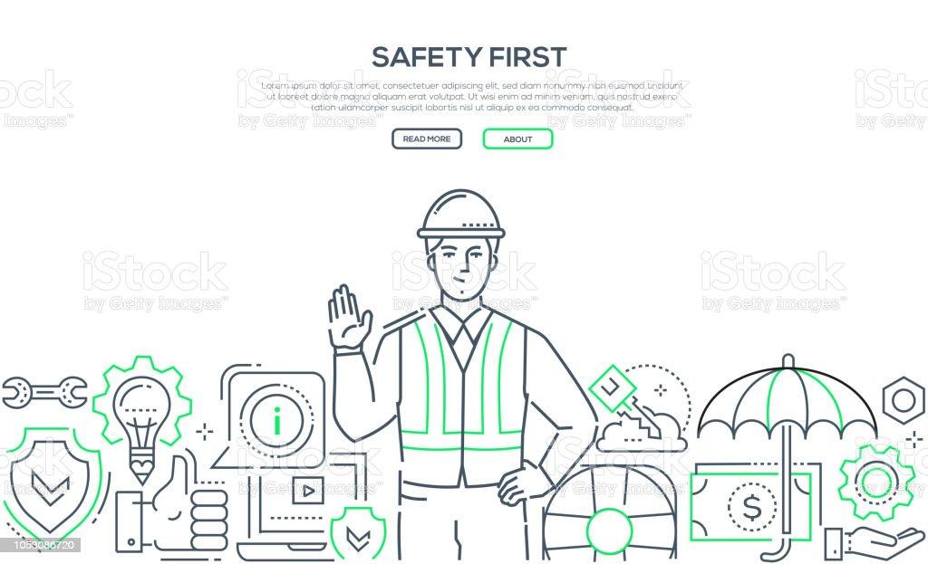 Safety First - moderne Linie Design Stil Banner – Vektorgrafik