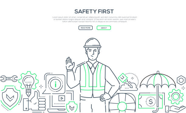 Safety first - modern line design style banner Safety first - modern line design style banner on white background with copy space for text. A composition with a young male worker in a helmet and overall, images of shield, life ring, computer security equipment stock illustrations