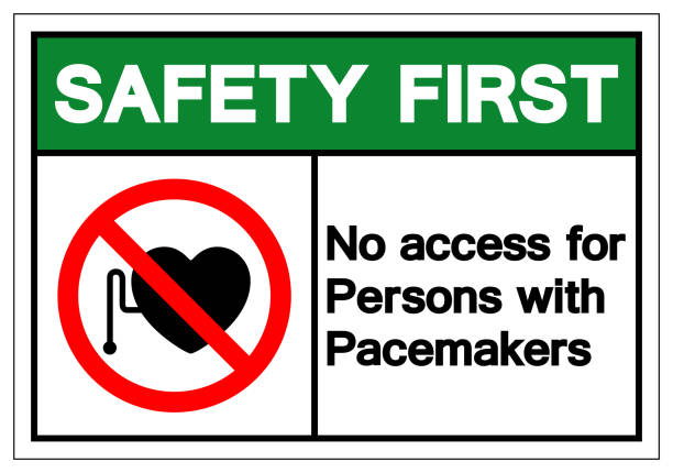 Safety First No Access For Persons With Pacemaker Symbol Sign ,Vector Illustration, Isolate On White Background Label. EPS10 vector art illustration