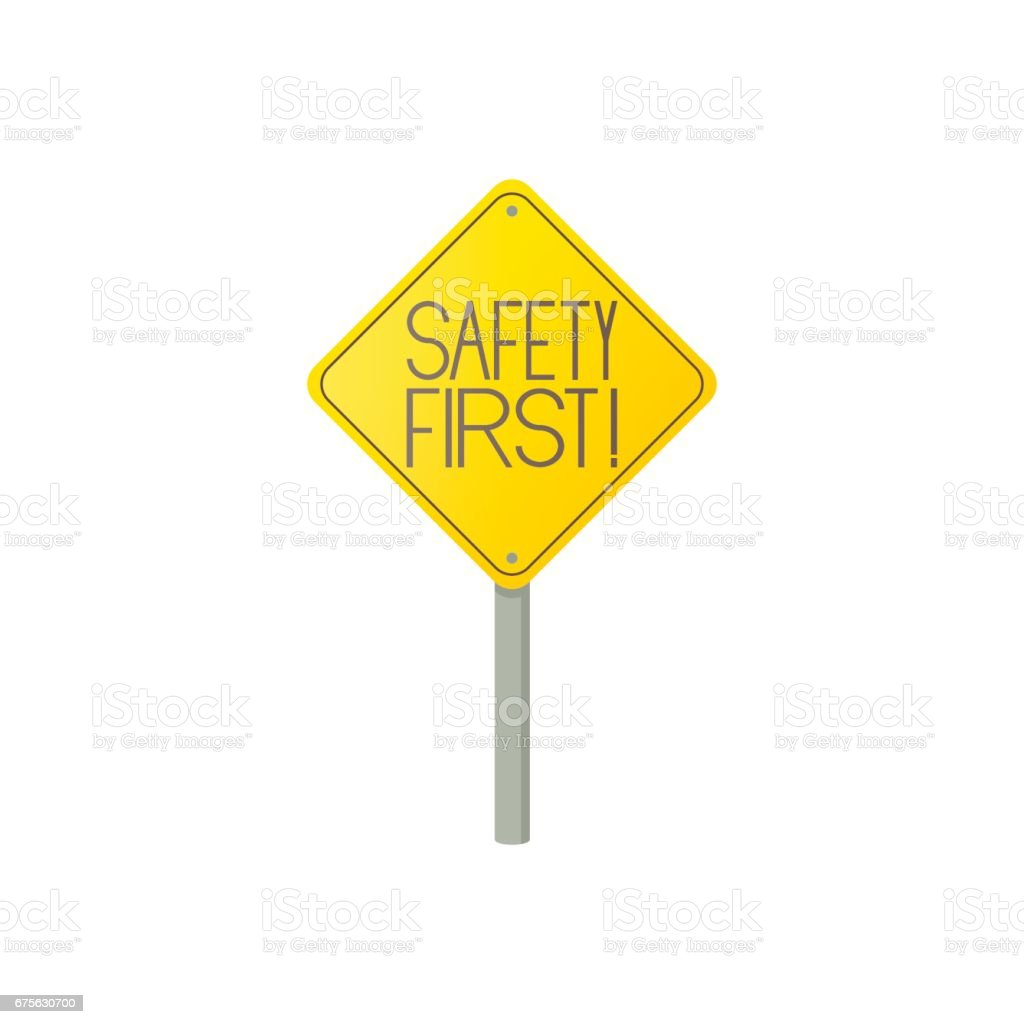 Safety first road sign icon, cartoon style royalty-free safety first road sign icon cartoon style stock vector art & more images of concepts
