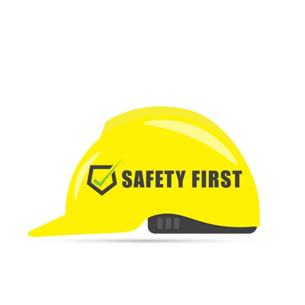 ilustraciones, imágenes clip art, dibujos animados e iconos de stock de primer símbolo de seguridad con casco amarillo - training