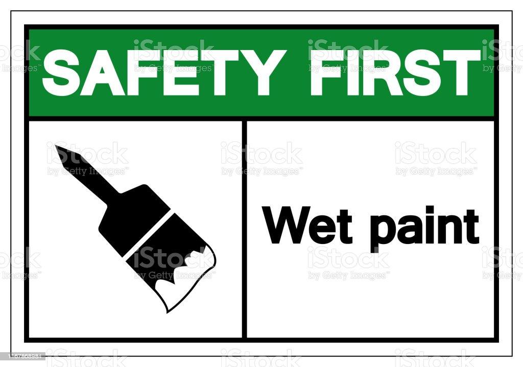 安全第一ウェットペイントシンボル記号ベクトルイラスト白い背景ラベル