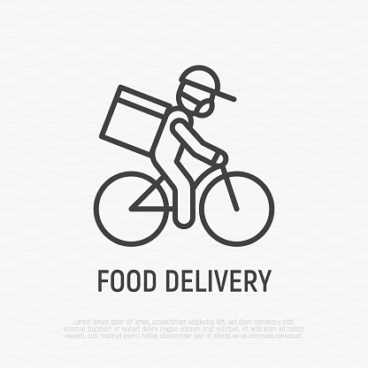 Safety food delivery thin line icon: man on bicycle with parcel box on the back in medical mask and protective gloves. Covid-19 prevention. Vector illustration.
