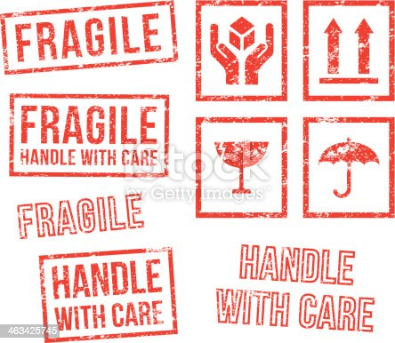 istock Safety fragile - rubber stamps 463425745
