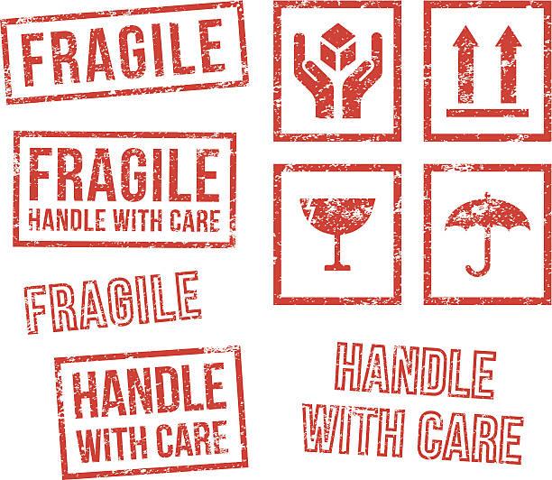 안전 깨지기 쉬움-고무 스탬프 - 취급 주의 표지판 stock illustrations
