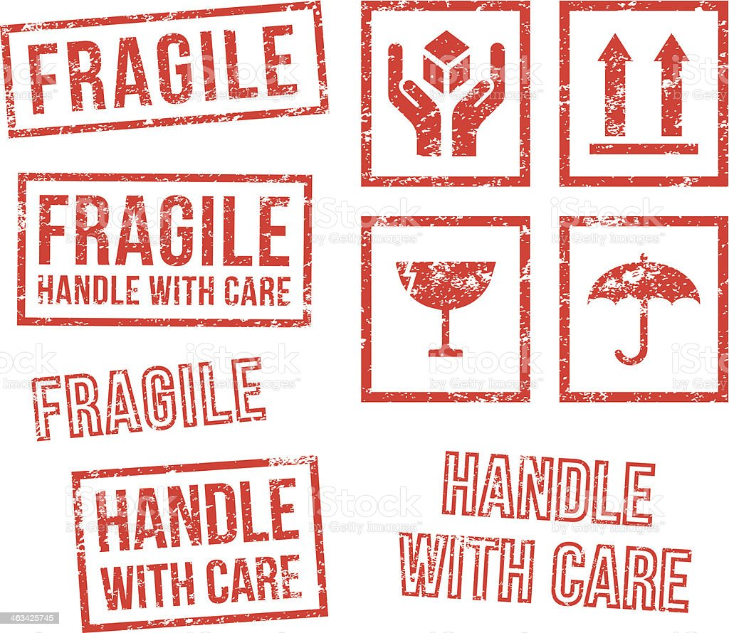 Safety fragile - rubber stamps vector art illustration