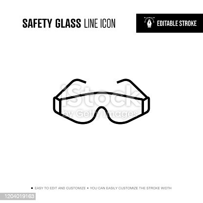 Safety Glass Line Icon - Editable Stroke