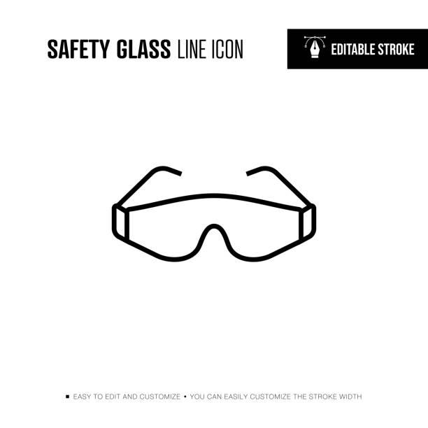 sicherheitsglas-liniensymbol - bearbeitbarer hub - schutzbrille stock-grafiken, -clipart, -cartoons und -symbole