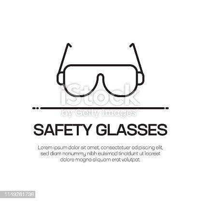 istock Safety Glasses Vector Line Icon - Simple Thin Line Icon, Premium Quality Design Element 1149281736