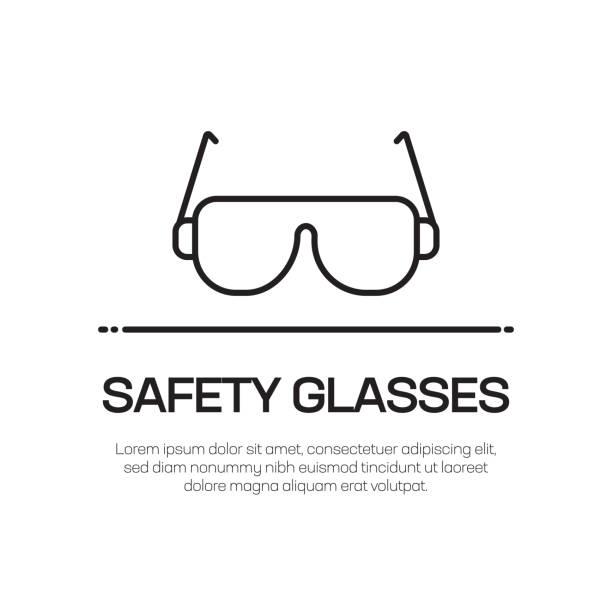sicherheitsbrille vector line icon-simple thin line icon, premium quality design element - schutzbrille stock-grafiken, -clipart, -cartoons und -symbole