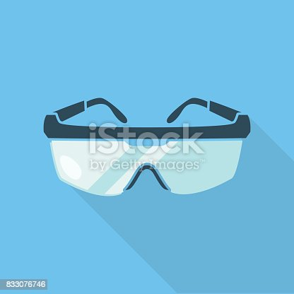 Safety goggles isolated on blue background with a shadow underneath. Flat styled vector illustration.