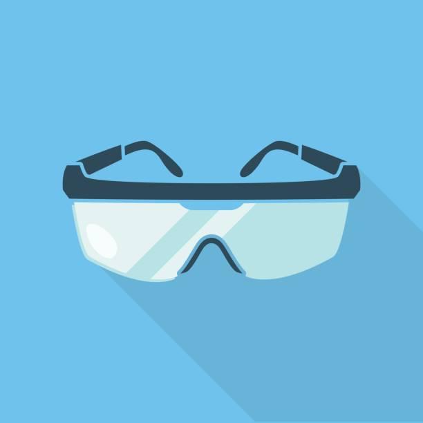 schutzbrille isolierten auf blauen hintergrund mit einem schatten darunter. - schutzbrille stock-grafiken, -clipart, -cartoons und -symbole
