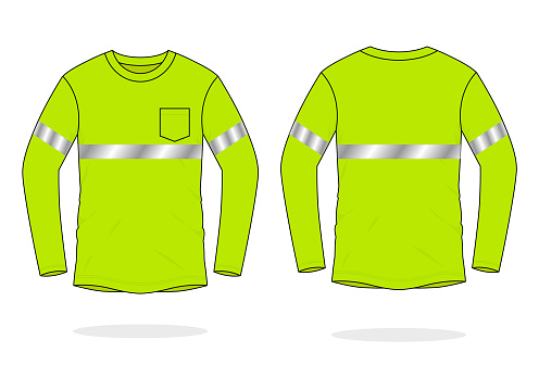 Safety Green Long Sleeve T-Shirt Design With Single Reflective Tape Vector