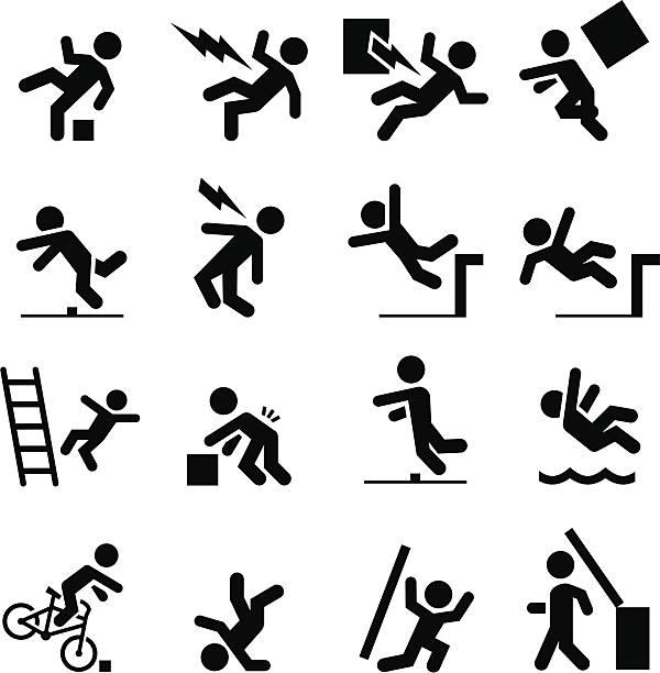 bildbanksillustrationer, clip art samt tecknat material och ikoner med safety icons - black series - falla