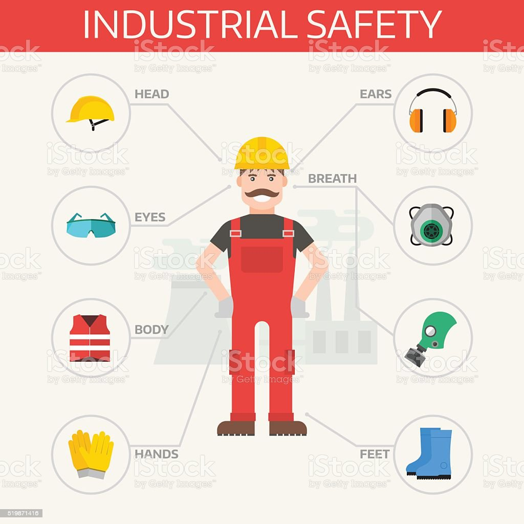 Safety industrial gear kit and tools set flat vector illustration vector art illustration