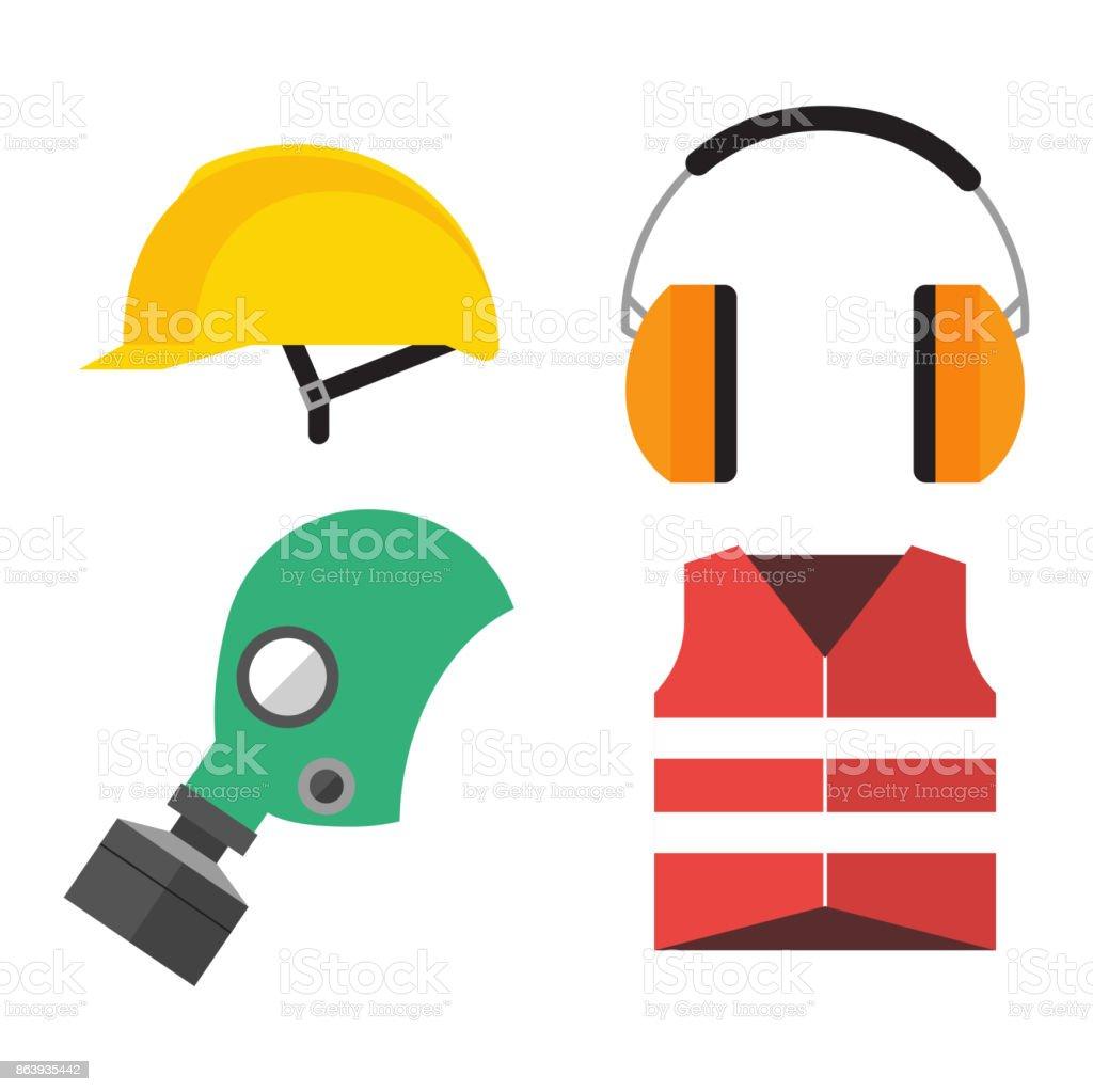 安全工業用ギヤのツールのフラット ベクトル イラスト体の保護の労働者の
