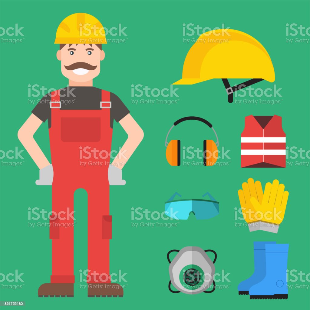 Safety industrial man gear tools flat vector illustration body protection worker equipment factory engineer clothing vector art illustration