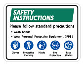 Safety Instructions Please follow standard precautions ,Wash hands,Wear Personal Protective Equipment PPE,Gloves Protective Clothing Masks Eye Protection Face Shield