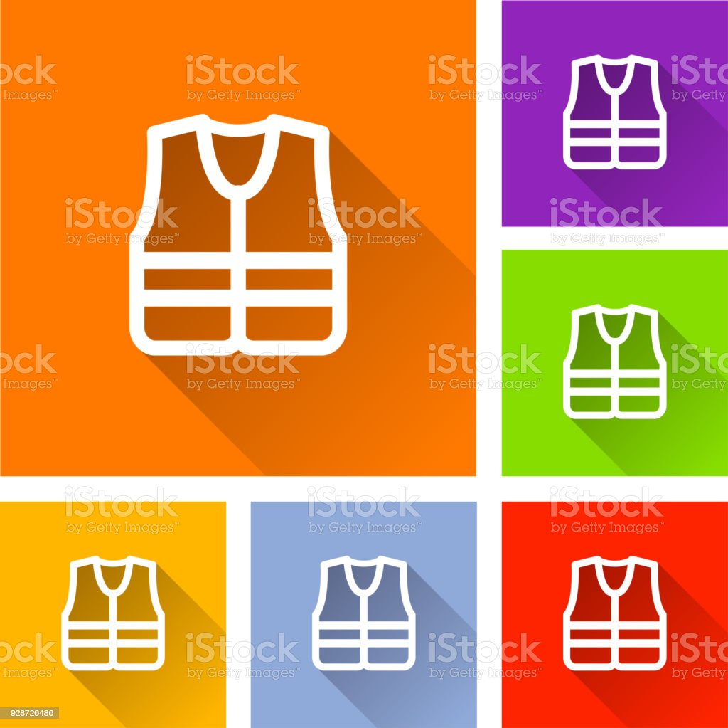 safety jacket icons with shadow vector art illustration