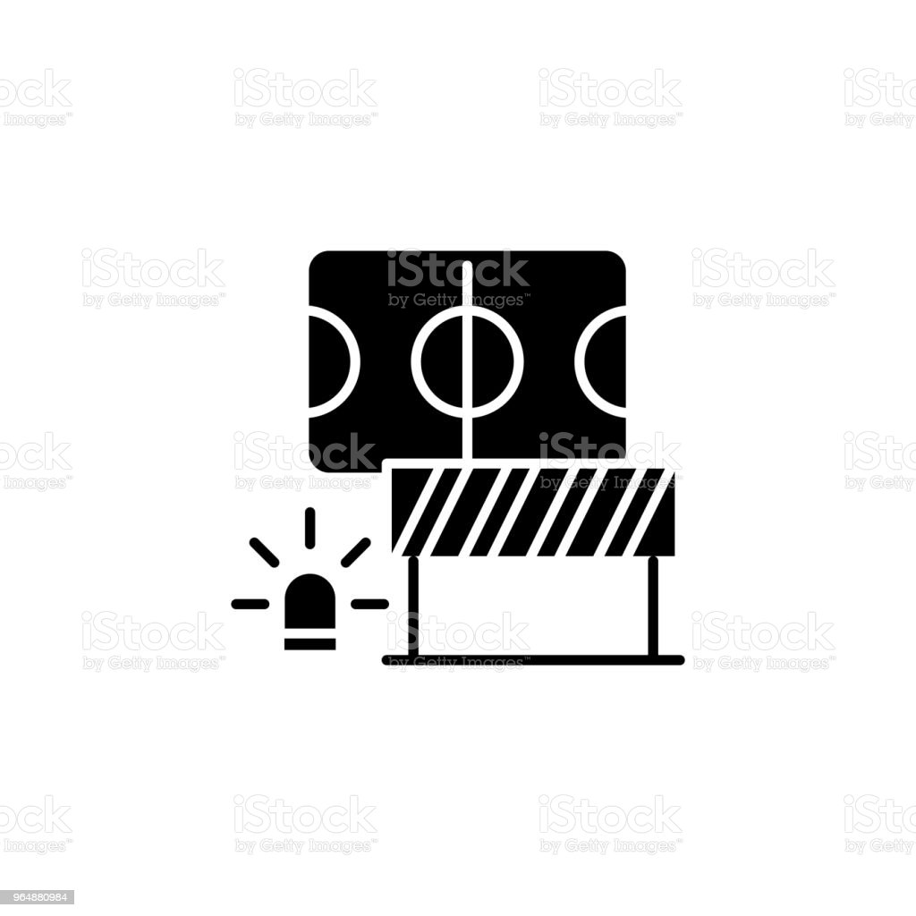 Safety measures black icon concept. Safety measures flat  vector symbol, sign, illustration. royalty-free safety measures black icon concept safety measures flat vector symbol sign illustration stock vector art & more images of adhesive tape