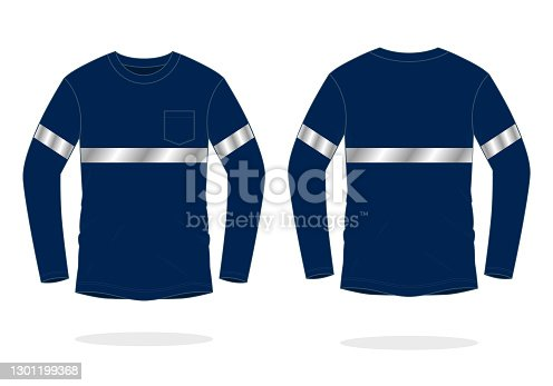 istock Safety Navy Blue Long Sleeve T-Shirt Design With Single Reflective Tape Vector 1301199368