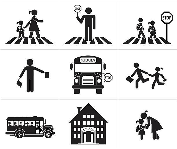 ilustrações, clipart, desenhos animados e ícones de a segurança de crianças em trânsito - ônibus escolares