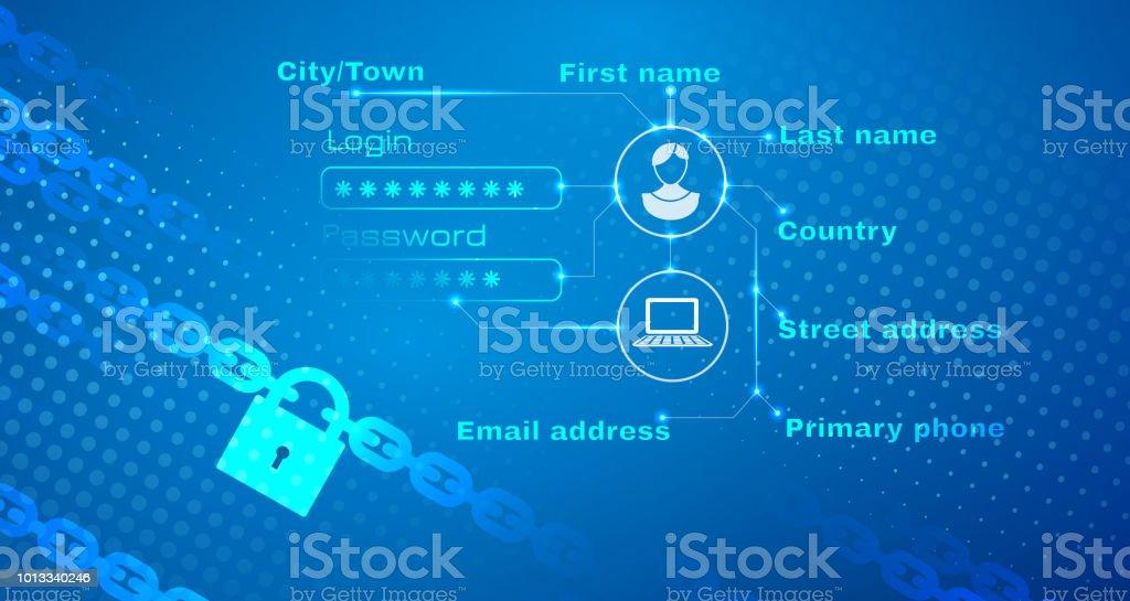 Sicherheit der persönlichen Daten abstrakten Hintergrund – Vektorgrafik