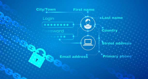 ilustraciones, imágenes clip art, dibujos animados e iconos de stock de seguridad de fondo abstracto de datos de carácter personal - robo de identidad