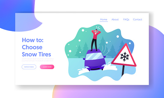 Safety on Snowy Road, Winter Accident Landing Page Template. Desperate Man Stand on Roof of his Car Stuck in Snowdrift