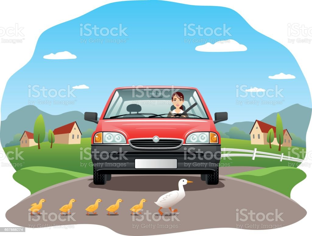 Safety on the road concept vector art illustration