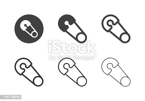 Safety Pin Icons Multi Series Vector EPS File.
