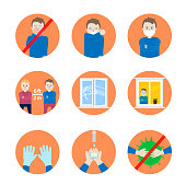Safety Precautions and Prevention of Colds, Vector illustrations in Flat Design Style. Wash your hands with soap. Avoid contacts with people who have acute respiratory viral infection related symptoms. Avoid touching your face. Ventilate the room, open windows for fresh air. Avoiding mass gatherings, and maintaining distance (approximately 6 feet or 2 meters) from others when possible. Wear disposable protective medical masks. Use protective gloves. Stay home.