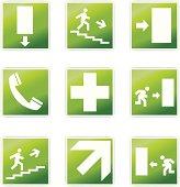 Set of nine safety signals.