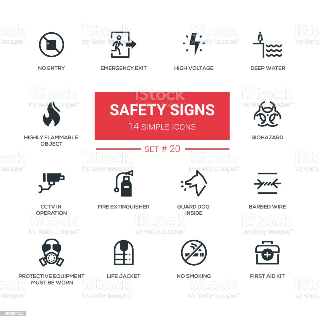 Safety Signs - modern simple icons, pictograms set vector art illustration