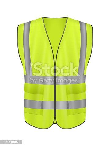 Safety vest front on a white background. Vector illustration.