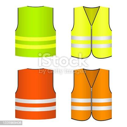 istock Safety vest vector design illustration isolated on white background 1225969406