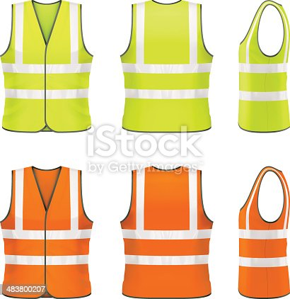 Vector illustration of classic high visibility vest.