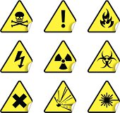 A set of safety and warning stickers (set 1)
