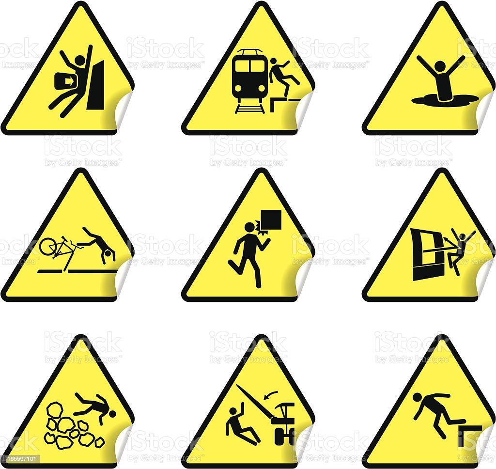 Pegatina de advertencia de seguridad, juego de 6 ilustración de pegatina de advertencia de seguridad juego de 6 y más banco de imágenes de amarillo - color libre de derechos