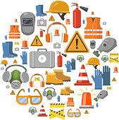 Safety work flat vector icons round background vector illustration with workwear helmet, gloves, extinguisher