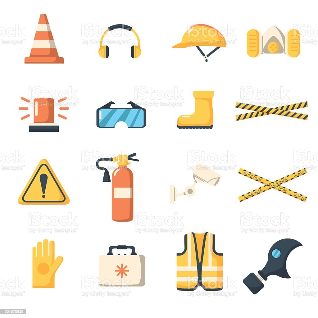 Safety work icons flat style. vector art illustration