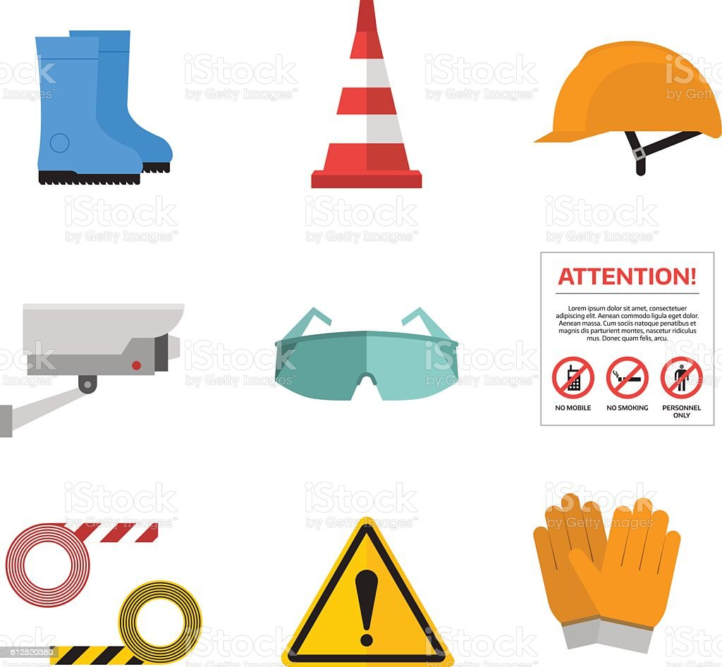 Safety work vector icons flat style vector art illustration