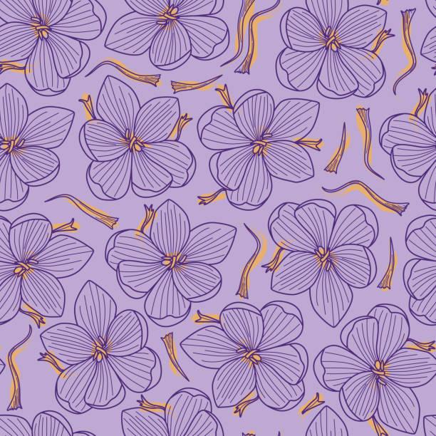 illustrations, cliparts, dessins animés et icônes de threads et fleurs de crocus safran seamless pattern sur fond violet - crocus