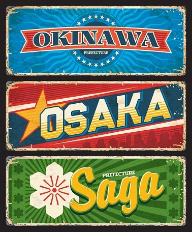 Saga, Okinawa and Osaka Japan regions tin plate