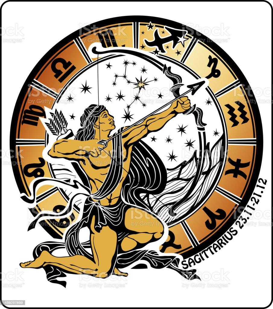 Sagittarius and the zodiac sign.Horoscope circle.Vector. royalty-free stock vector art